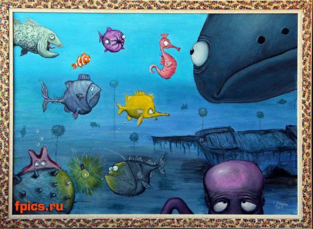 Смешные рыбы в море